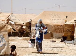 Individuals in UNHCR camp