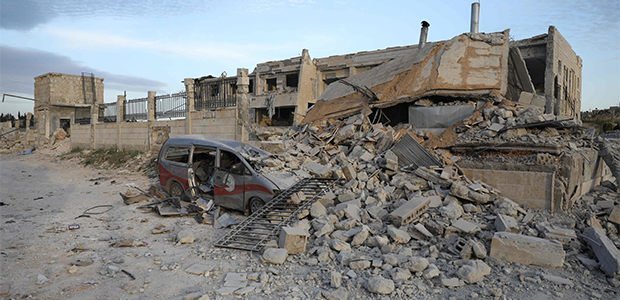 Rubble after airstrike