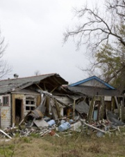 Houses in disaster zone