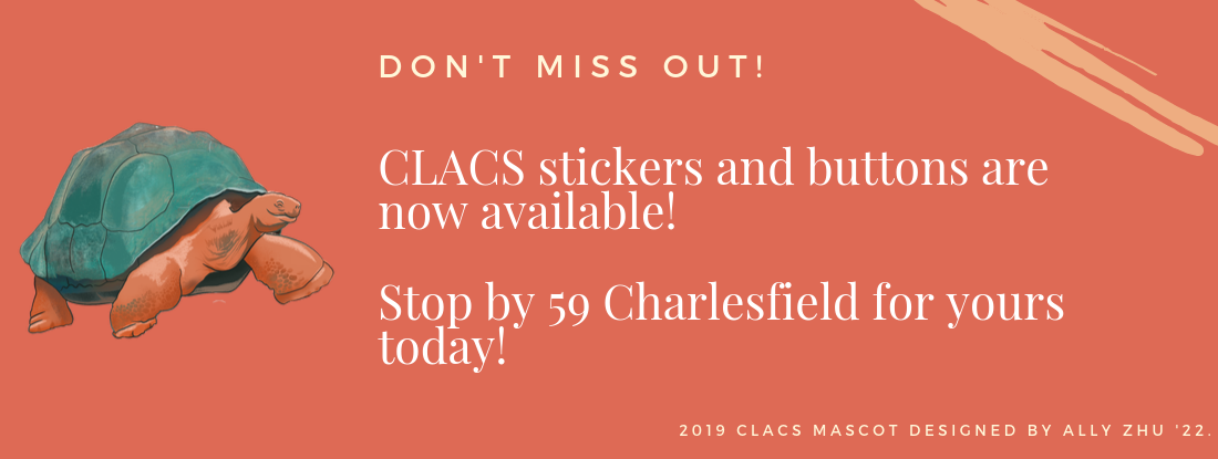 CLACS turtle pins and stickers are now available at 59 Charlesfield.
