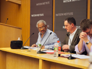 Image of Anthony Bogues and other speakers at seminar.