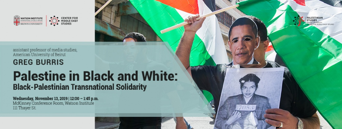 Greg Burris – Palestine in Black and White: Black-Palestinian Transnational Solidarity event poster