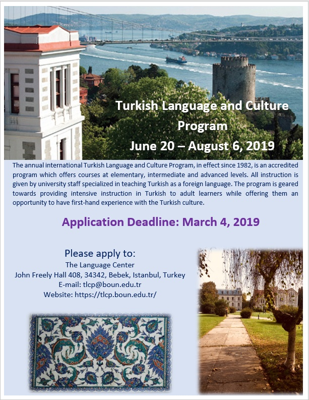Turkish Language and Culture Program flyer