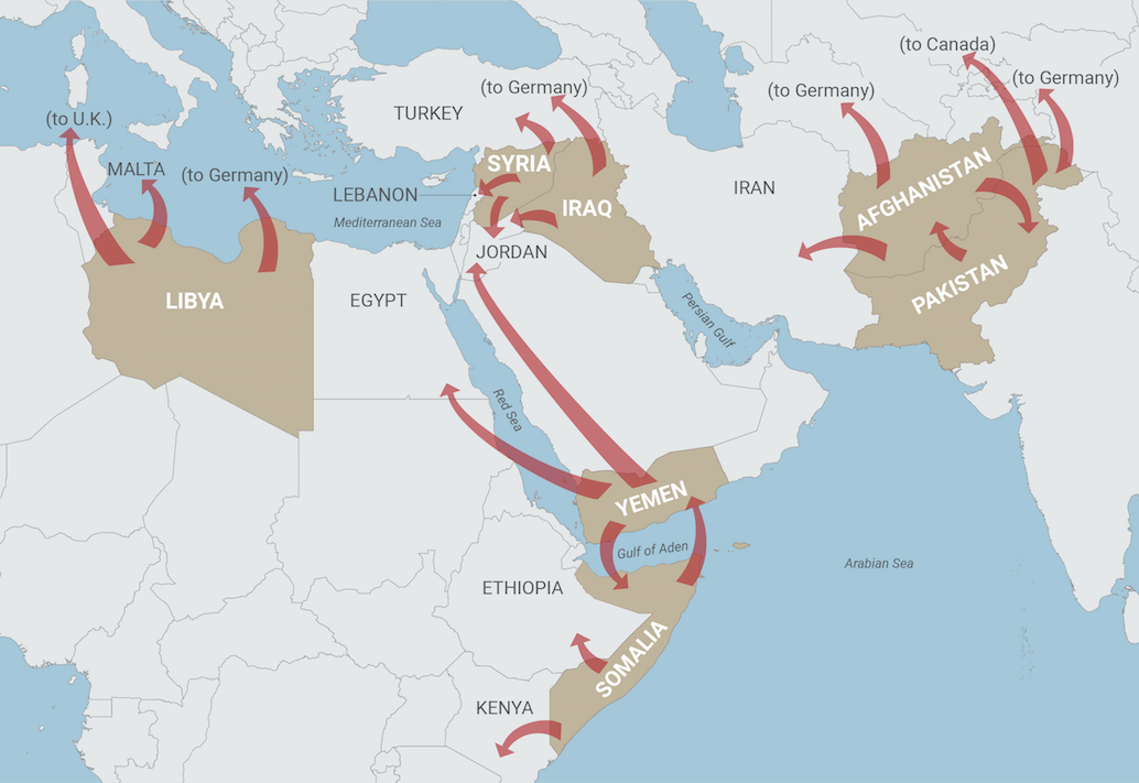 A map depicting the movement of refugees from Libya, Syria, Iraq, Yemen, Somalia, Afghanistan, and Pakistan.