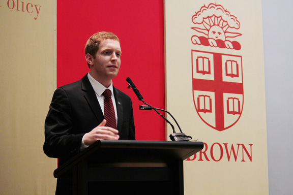 Alex Morse '11 speaks at Brown on February 14, 2012