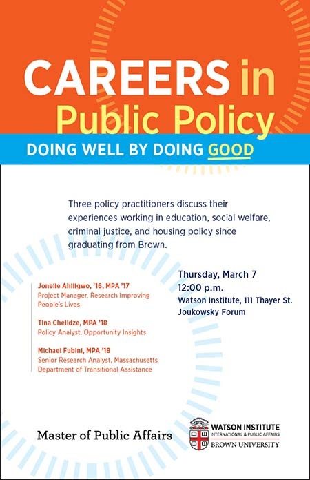 Careers in Public Policy: Doing Well by Doing Good | Watson Institute