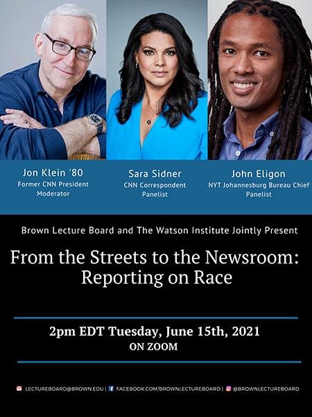 Event poster with photos of Jon Klein, Sara Sidner, and John Eligon