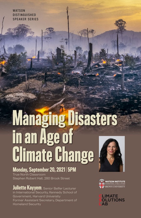 Event poster for Juliette Kayyem, Managing Disasters in an Age of Climate Change
