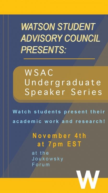 WSAC Speaker Series poster