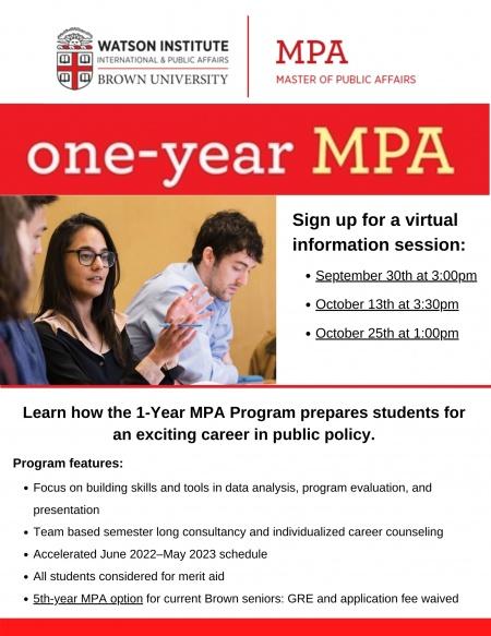 Information Session - MPA Program flyer