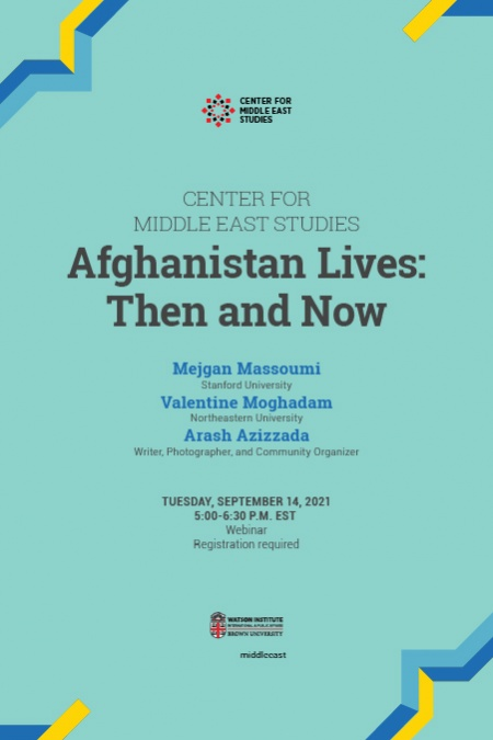 Afghanistan Lives: Then and Now light blue poster