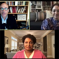 Stacey Abrams meets virtually for a conversation with Director Ed Steinfeld and Liz Garbus