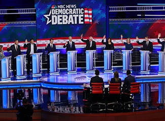 2020 Democratic presidential candidates during a debate