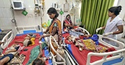 Children with symptoms of encephalitis being treated in India
