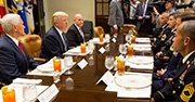 President Trump and H.R. McMaster have lunch with service members