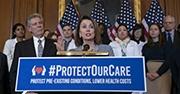 Nancy Pelosi makes an announcement on healthcare