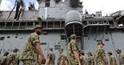 US troops on USS Wasp in Japan