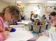 Kids coloring at school