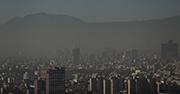 Smog sits over a city