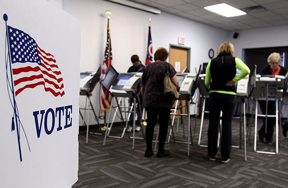 Voters at polling place