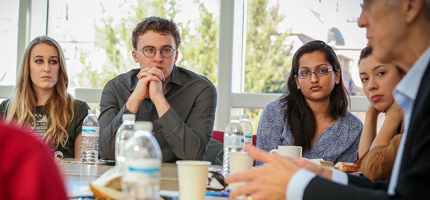 Todd Stern with Brown University students, Watson Institute