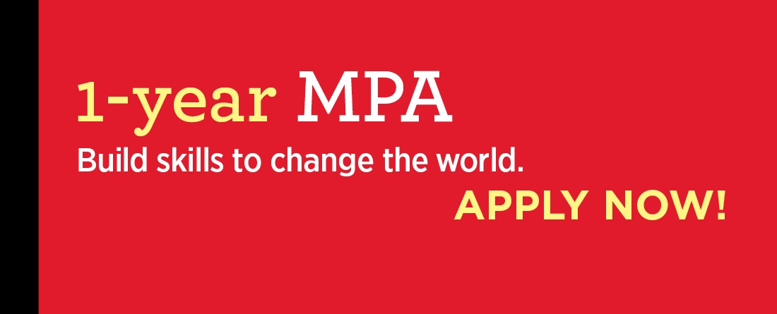 Application open for the 1-Year Master of Public Affairs