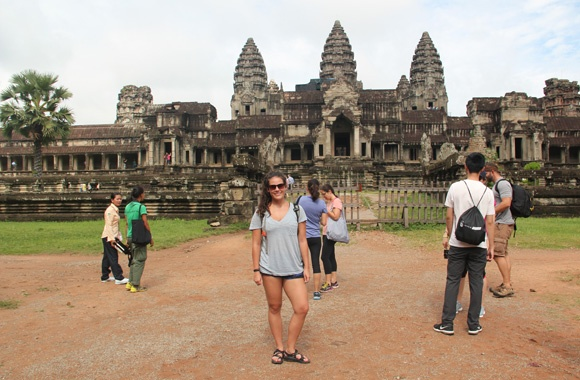 Robyn Sundlee at Angkor Wat in Cambodia
