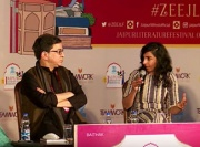 Ashutosh Varshney and Prerna Singh on a panel at the Jaipur Literature Festival