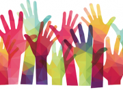 Image from North California Bluegrass Society, Multicolor hands reaching up