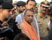 Yogi Adityanath, chief minister of Uttar Pradesh state in northern India, is promoting legislation encouraging two-children-only families. Critics accuse him of fomenting Hindu anger against the country's growing Muslim population. (Ritesh Shukla/NurPhoto/Getty Images)