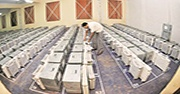 A man sealing the electronic voting machines after the vote