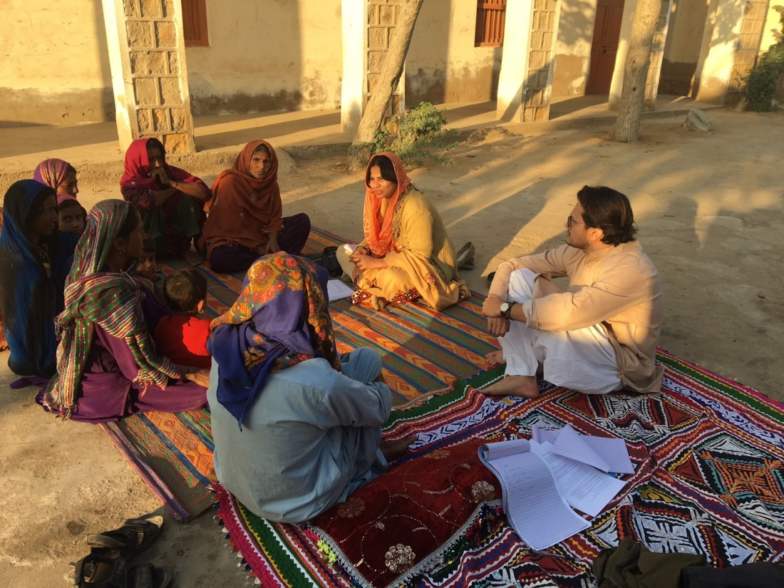 A focus group discussion with BISP beneficiaries in Chatto Chand, Thatta.