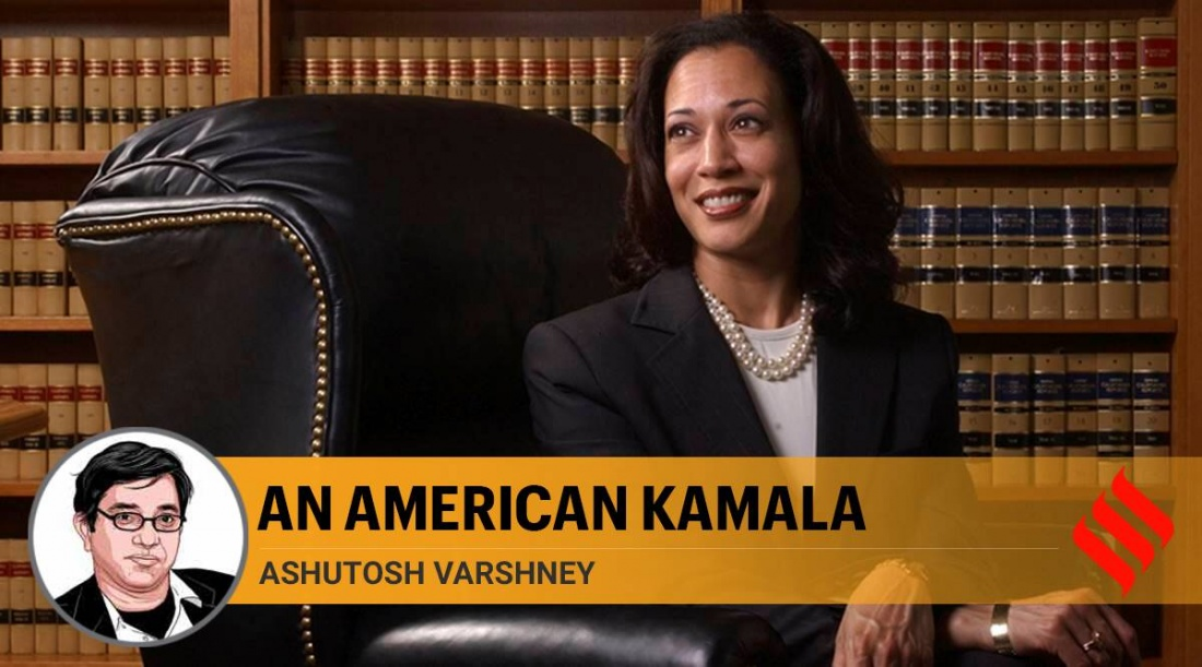 Kamala Harris sitting in a library